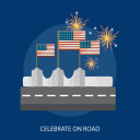 celebrate, fireworks, flag, holiday, independence, road, usa