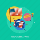 flag, holiday, independence, music, party, state, usa icon