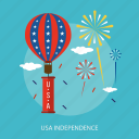 balloon, cloud, fireworks, holiday, independence, star, usa