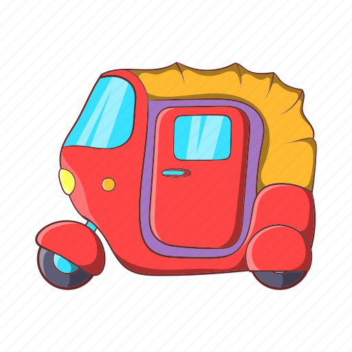 asia, cartoon, india, rickshaw, taxi, transport, vehicle icon