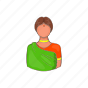 cartoon, dress, girl, green, indian, sari, woman icon