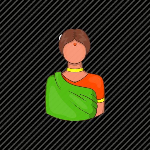 cartoon, dress, girl, green, indian, sari, woman icon