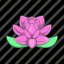 cartoon, flower, india, lily, lotus, pink, plant