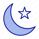 moon, night, star icon