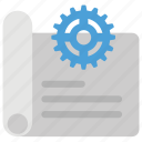 control document, document management, document with gear symbol, documentation plan, engineering document icon