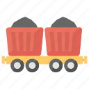 coal mining, construction cart, mine chariot, minecart icon