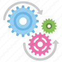 cog wheels, engineering, gear wheels, gears, mechanism icon