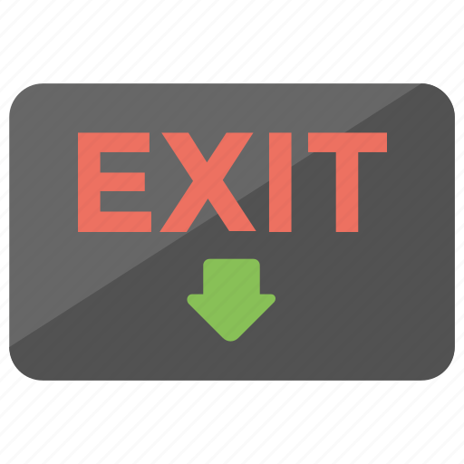 departure, emergency exit, exit, exit sign, leave icon