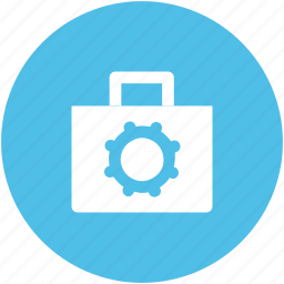bag, briefcase, cog, custom, gear, preferences, school bag icon