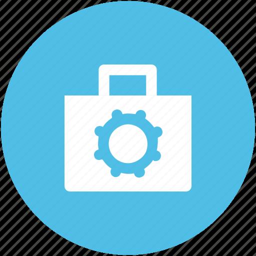 bag, briefcase, cog, custom, gear, preferences, school bag icon