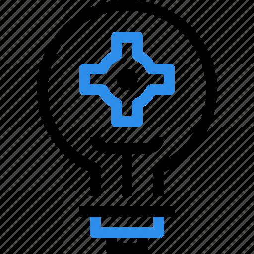 creative, creativity, gear, light, power, process, thinking icon