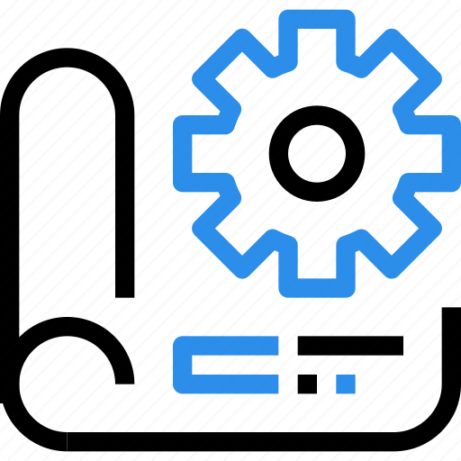 gear, industrial, industry, management, plan, planning, process, production icon