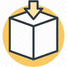 carton box, down arrow, download, packaging icon