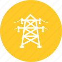 electric, energy, lines, power, tower, voltage, wire icon