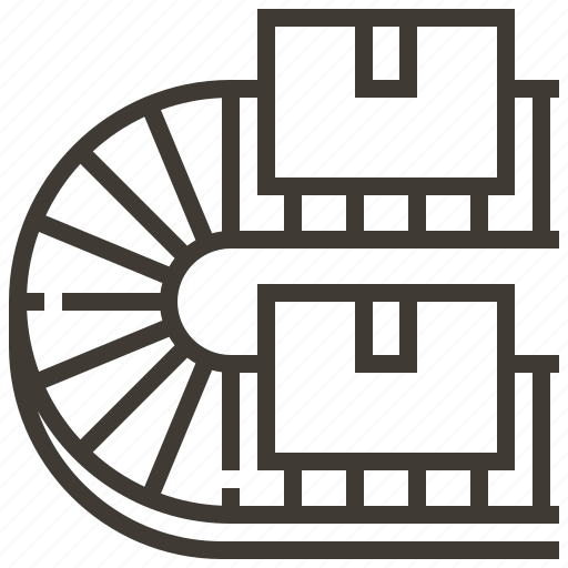 assembly line, conveyor, conveyor belt, production icon