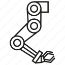 automation, industry, machine, manufacturing, robot, robot hand, robotic arm icon