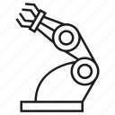 artificial intelligence, automation, industry, machine, manufacturing, robot, robotic arm icon
