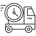 car, clock, delivery, fast, time, transport icon
