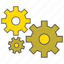cog, gear, mechanical, rotate, setting icon