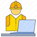 engineer, laptop, mechanic, monitor, technician icon
