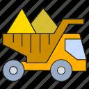 dump truck, dumper, machine, machinery, mining, tractor, truck icon