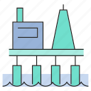 building, energy, gas, gasoline, oil platform, oil rig, petrol icon