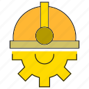 cog, gear, helmet, safety icon