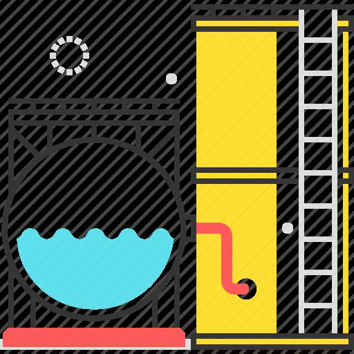 fuel, oil, steel, storage, tank, water icon