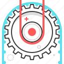 cog, engineering, gear, lightening, wheels icon