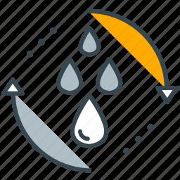 arrows, drops, hydropower, industry, water icon