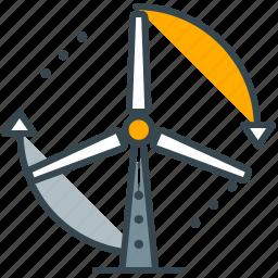 electricity, energy, industry, turbine, wind icon