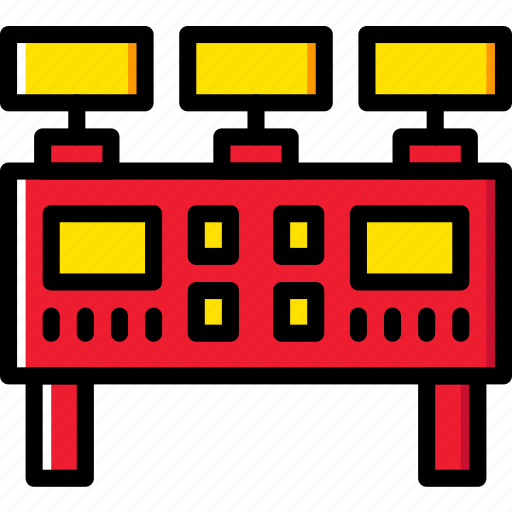 Industry, production, command, factory, panel icon