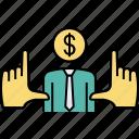 trader, financier, businessman, niche zooming, developer finding, niche catching, investor seeking icon