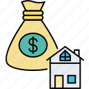 home investment, home loan, house investment, house mortgage, property estate, residential credit icon