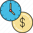 business growth, business investment, clock investment, finance business, time investment, time working icon