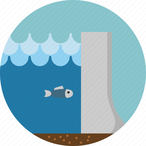 dam, industry, sea, water icon