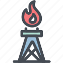 fire, gas, industry, oil, oil rig, oilfield, power icon
