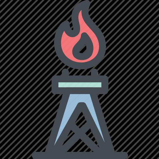 fire, gas, industry, oil, oil rig, oilfield, power icon