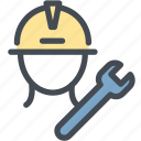 industry, power, repair, repairing, service, service man, wrench icon