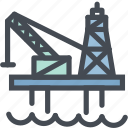drilling, gas, industry, ocean oil rig, oil platform, sea icon