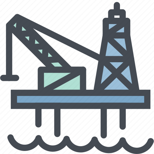 Drilling, gas, industry, ocean oil rig, oil platform, sea icon - Download on Iconfinder