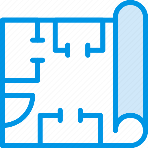 Industry, production, blueprints, factory icon