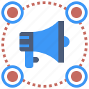 affiliate, announcement, distribution, marketing, megaphone icon