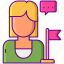 ambassador, brand, lady, person, program icon