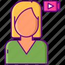 female, influencer, video, vlog, vlogger, woman, youtuber icon