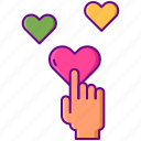 click, hearts, likes, love icon