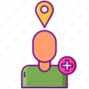 add, building, followers, location, organic icon