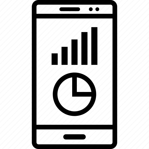 bars, cell, data, graphics, info, phone icon