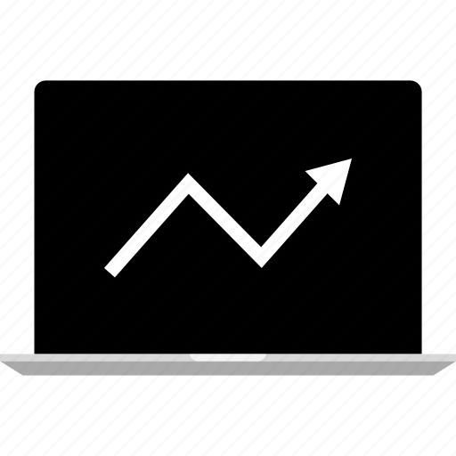 analytics, arrow, graph, information icon
