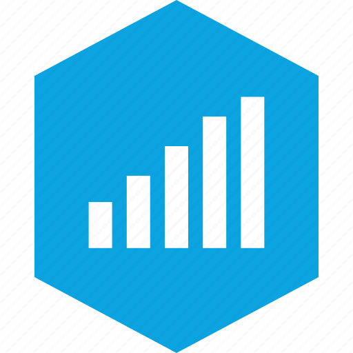 analytics, data, hex, information icon